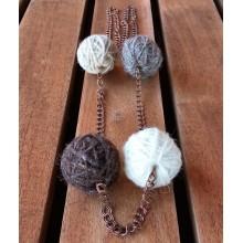 Copper Necklace 4 Little Wool Balls